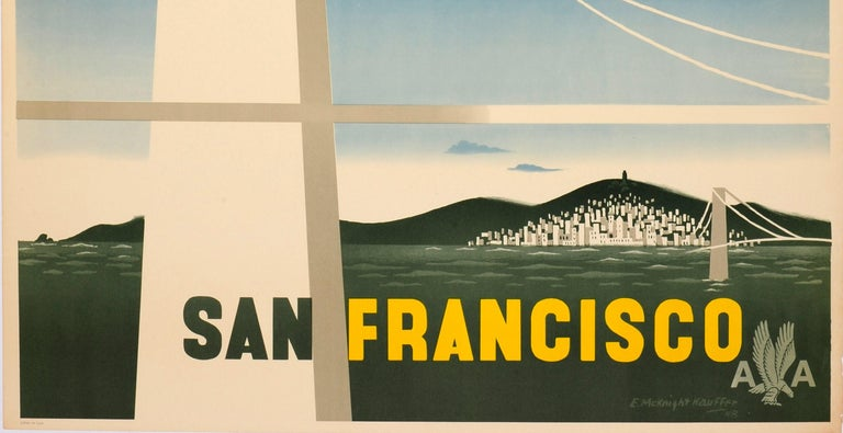 Mid-20th Century Original Vintage Travel Poster American Airlines San Francisco Golden Gate Brdge For Sale