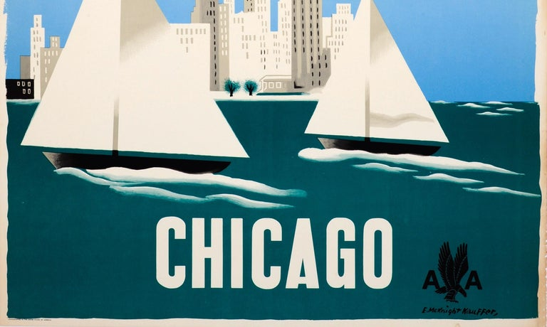 Mid-20th Century Original Vintage Travel Poster American Airlines to Chicago Ft Sailing City View For Sale