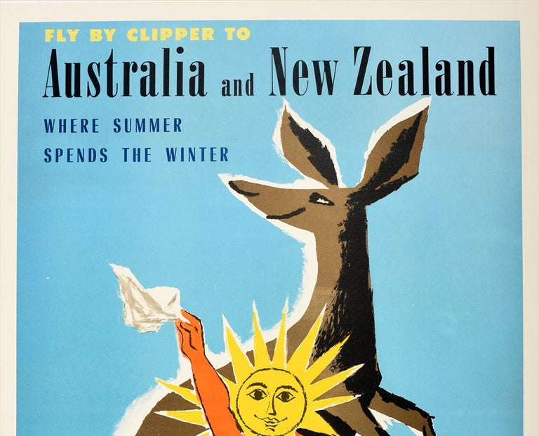 Original vintage travel poster - Fly By Clipper To Australia and New Zealand Where Summer Spends The Winter Pan American World Airways The World's Most Experienced Airline - featuring a fun and colourful design by Jean Carlu (1900-1997) and Fred