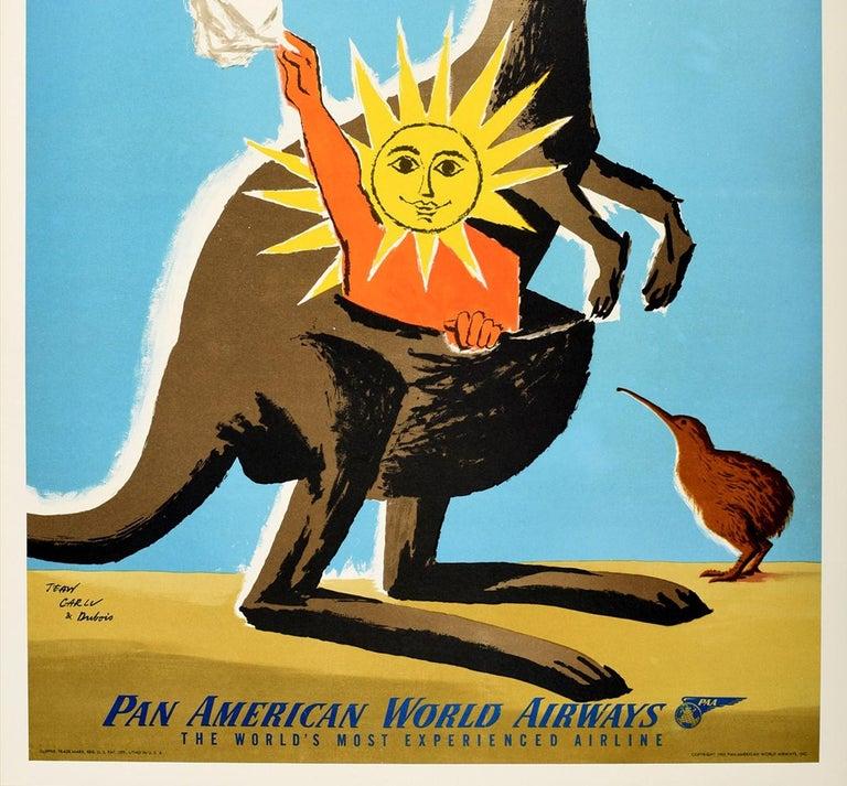 American Original Vintage Travel Poster Australia New Zealand PanAm Clipper Kangaroo Kiwi For Sale