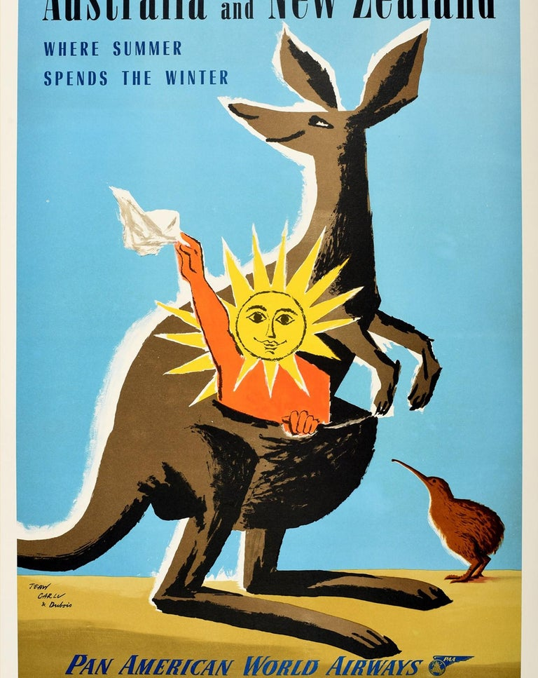 Original Vintage Travel Poster Australia New Zealand PanAm Clipper Kangaroo Kiwi In Good Condition For Sale In London, GB