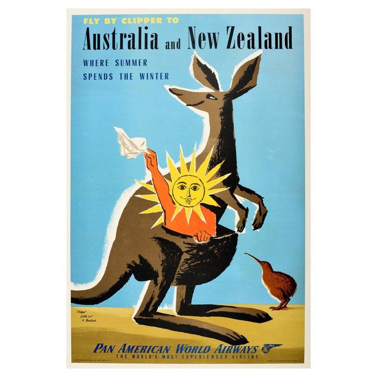 Original Vintage Travel Poster Australia New Zealand PanAm Clipper Kangaroo Kiwi For Sale