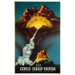 Original Vintage Travel Poster Bad Schuls Tarasp Vulpera Spa Engadin Castle Alps