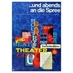Original Vintage Travel Poster Berlin River Spree Music Art Theatre Night Life