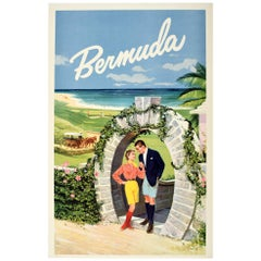 Original Vintage Travel Poster Bermuda Moongate Arch Golf Beach Horse Carriage