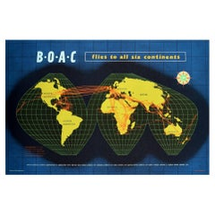 Original Vintage Travel Poster BOAC Flies To All Six Continents Planisphere Map