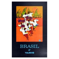 Original Vintage Travel Poster Brazil Brasil Varig Rio Carnival Frevo Capoeira