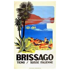 Original Vintage Travel Poster Brissago Ticino Suisse Italienne Lake Maggiore