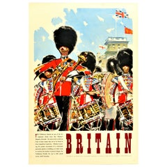 Original Vintage Travel Poster Britain The Coldstream Guards Ceremonial Parade