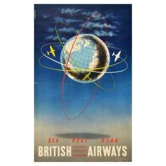 Original Vintage Travel Poster British European Overseas South American Airways