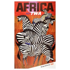 Original Vintage Travel Poster By David Klein Africa Fly TWA Iconic Zebra Design