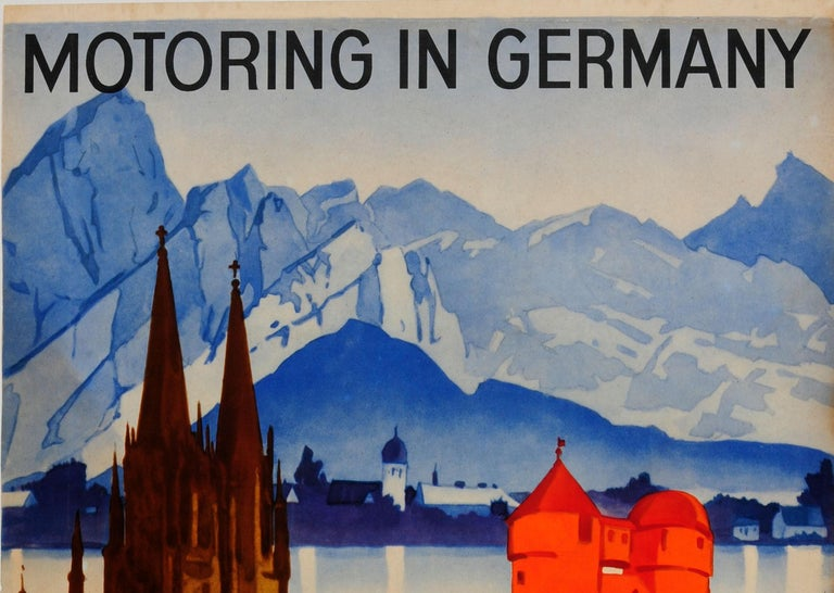 Original vintage travel poster promoting Motoring in Germany featuring a great illustration by the notable German poster artist Ludwig Hohlwein (1874-1949) of a Classic car in front of trees and Gothic and traditional German architecture in shades