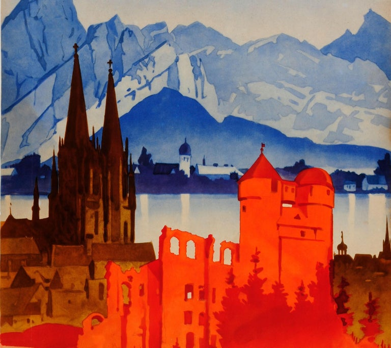 Original Vintage Travel Poster by Hohlwein Motoring in Germany Classic Car Tours In Fair Condition For Sale In London, GB