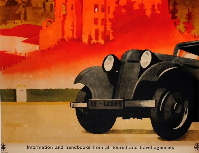 Early 20th Century Original Vintage Travel Poster by Hohlwein Motoring in Germany Classic Car Tours For Sale