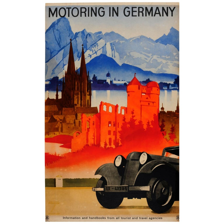 Original Vintage Travel Poster by Hohlwein Motoring in Germany Classic Car Tours For Sale