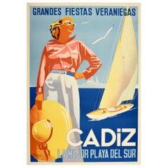 Original Vintage Travel Poster Cadiz Beach Sailing Yacht Summer Holiday Vacation