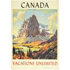 Original Vintage Travel Poster Canadian Rockies Mount Eisenhower Castle Mountain