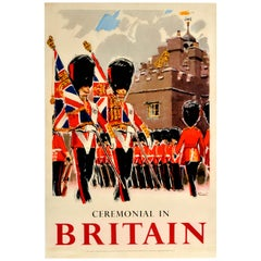 Original Vintage Travel Poster Ceremonial In Britain Royal Coldstream Guards Art