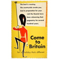 Original Vintage Travel Poster Come to Britain Ft. Midcentury Royal Guard Design