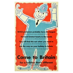 Original Vintage Travel Poster Come To Britain Holiday British Policeman Design