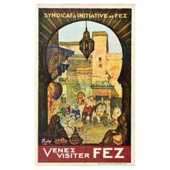 Original Vintage Travel Poster Come Visit Venez Visiter Fez Morocco North Africa