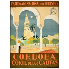 Original Vintage Travel Poster Cordoba Corte De Los Califas Court Of The Caliphs