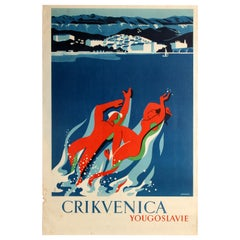Original Vintage Travel Poster Crikvenica Yugoslavia Sea Coast Health Spa Resort