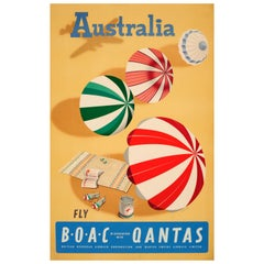 Original Vintage Travel Poster For Australia Fly BOAC & Qantas - Sunshine & Surf