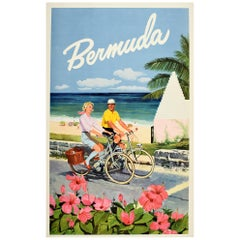 Original Vintage Travel Poster for Bermuda Ft. Flowers Cycling Sandy Beach View
