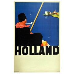 Original Vintage Travel Poster For Holland Fisherman Windmill Sailing Boats Art