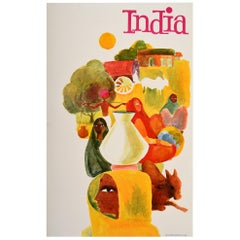 Original Vintage Travel Poster For India Ft. Colourful Illustrations People Cow