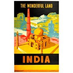 Original Vintage Travel Poster For India The Wonderful Land Taj Mahal Qutb Minar