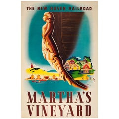 Original Vintage Travel Poster For Martha's Vineyard By The New Haven Railroad