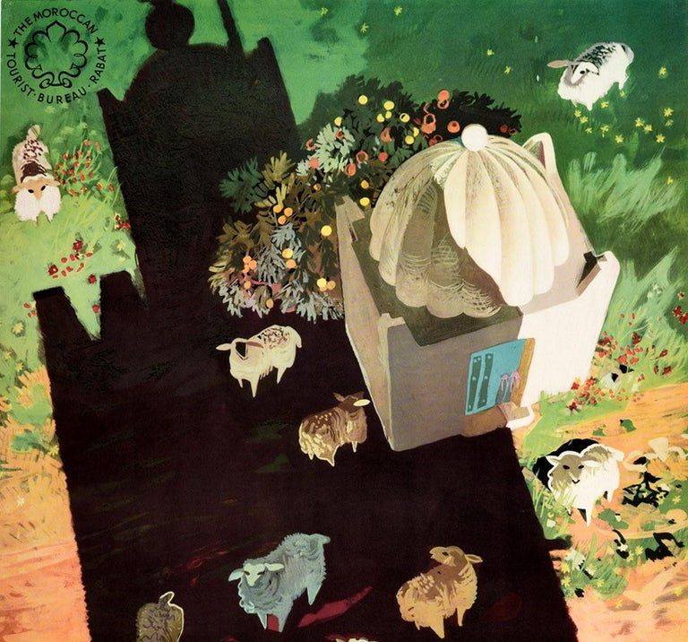 Original vintage travel poster for Morocco issued by the The Moroccan Tourist Bureau Rabat featuring a great design of a shepherd with his flock of sheep next to grass on a lane by a small domed building, looking down from a tall building casting a
