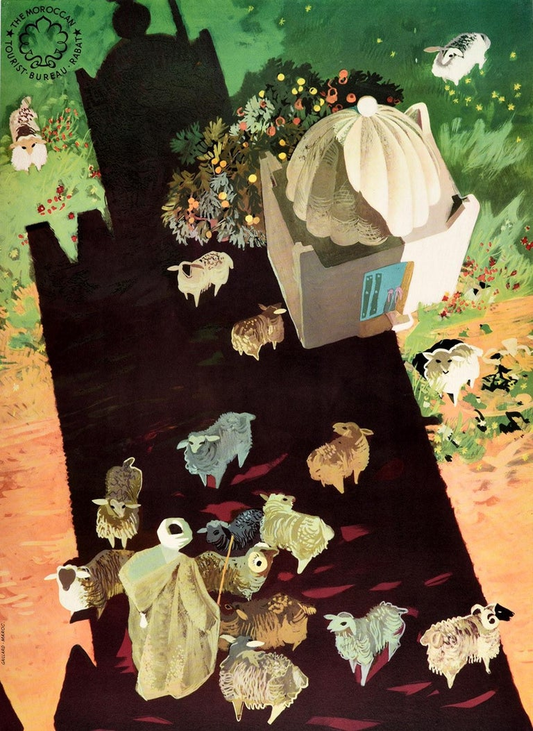 Original Vintage Travel Poster For Morocco Africa Shepherd & Sheep Shadow Design In Good Condition For Sale In London, GB