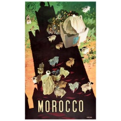Original Vintage Travel Poster For Morocco Africa Shepherd & Sheep Shadow Design