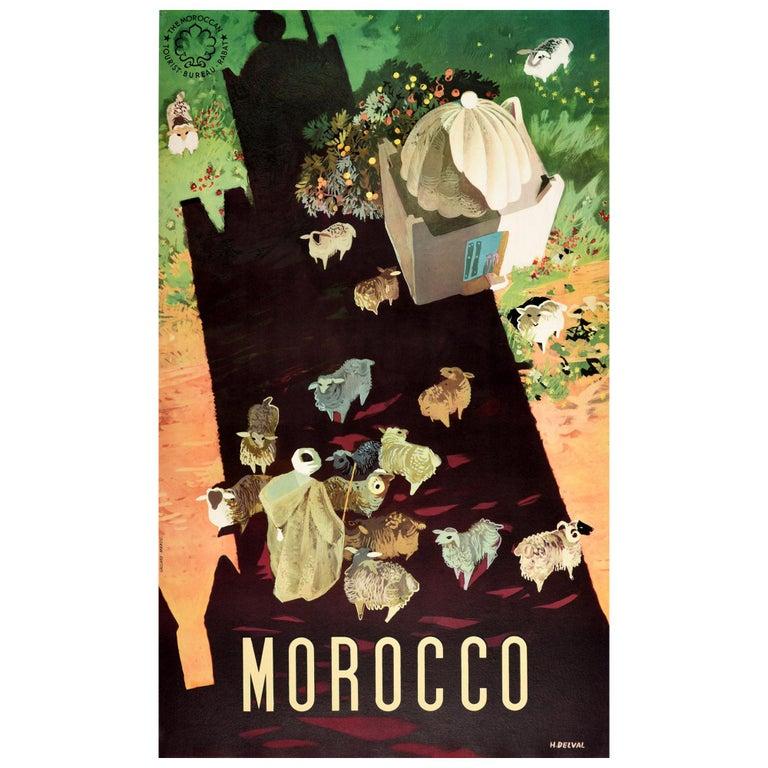 Original Vintage Travel Poster For Morocco Africa Shepherd & Sheep Shadow Design For Sale