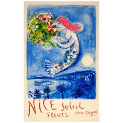 Original Vintage Travel Poster for Nice Soleil Fleurs Marc Chagall Sun Flowers