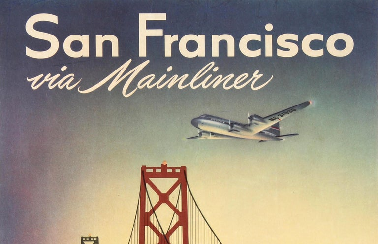 Original vintage travel poster for San Francisco via Mainliner United Air Lines featuring a stunning illustration depicting a seagull flying in front of the San Francisco–Oakland Bay Bridge in California with a United Airlines plane flying in the