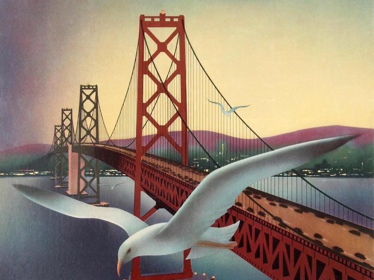 American Original Vintage Travel Poster for San Francisco Via Mainliner United Air Lines For Sale