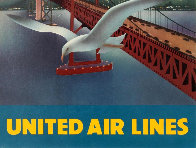 Original Vintage Travel Poster for San Francisco Via Mainliner United Air Lines In Fair Condition For Sale In London, GB
