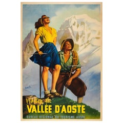 Original Vintage Travel Poster Ft Hiking in the Aosta Valley Alps Vallee D'Aoste