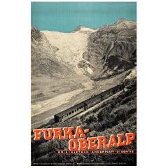 Original Vintage Travel Poster Furka Oberalp Mountain Railway Steam Train Photo