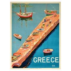 Original Vintage Travel Poster Greece Aegean Island Jetty View Sailing Boats Sea