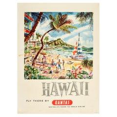 Original Vintage Travel Poster Hawaii Fly There by Qantas Waikiki Beach Sailing