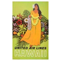 Original Vintage Travel Poster Hawaii United Airlines Lei Flower Garland Design