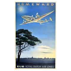 Original Vintage Travel Poster Homeward KLM Royal Dutch Air Lines Plane Windmill