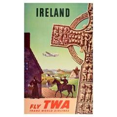 Original Vintage Travel Poster Ireland TWA Lockheed Constellation Celtic Cross