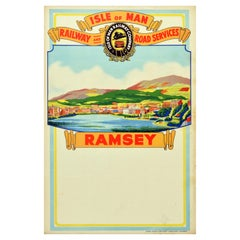 Original Vintage Travel Poster Isle Of Man Railway Road Services Ramsey Sailing