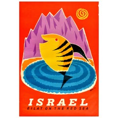 Original Vintage Travel Poster Israel Eilat On The Red Sea Resort Leaping Fish